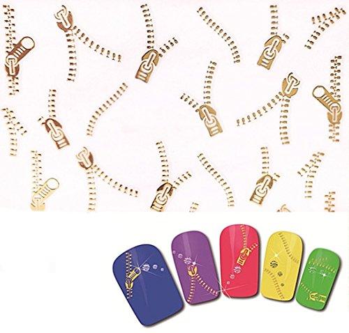 Club mode Nail Art manucure Stickers Autocollants pour Ongles Scrapbooking Fermetures éclair Zips dorés