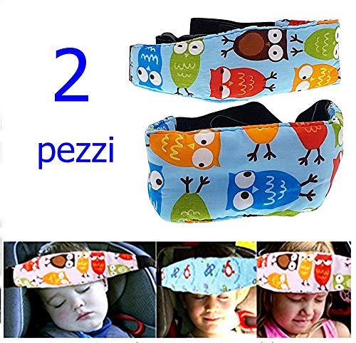 Hoofdband - autostoel - veiligheid en hoofdsteun - kinderen - fantasie - uilen - lichtblauwe kleur - pakket van 2 stuks - origineel idee voor verjaardagscadeau