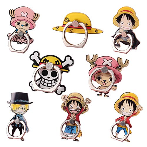 St.Mandyu Anime One Piece Cartoon Character Stand Phone Ring Holder, 360° Rotation Finger Ring Stand Grip for Magnetic Phones & Tablets(8PCS-A)