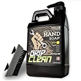 Grip Clean | Waterless Hand Cleaner for Auto Mechanics - Heavy Duty Pumice Soap + Fingernail Brush, Industrial Strength for Dry Hands