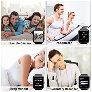 Smart Watch, Android Smartwatch Touch Screen Bluetooth Smart Watch for Android Phones Wrist Phone Watch with SIM Card Slot & Camera, Waterproof Sports Fitness Tracker Watch for Men Women Kids Black