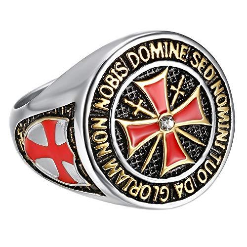 BOBIJOO JEWELRY - Anillo De Caballero De La Orden De Los Templarios Hombre De Plata De La Cruz De Malta Roja De Acero Inoxidable - 17 (8 US), Acero Inoxidable 316