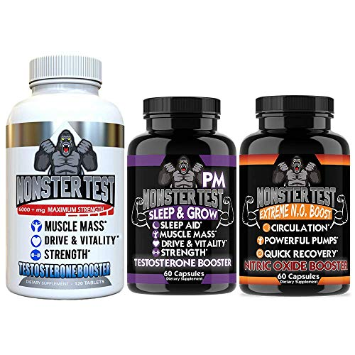 Angry Supplements Test Booster for Men (3 Pack), Monster Test (120 Tablets), Monster N.O Nitric...
