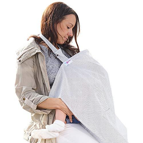 Grembiule Allattamento Copertura Poncho per Allattamento al Seno – Top Sciarpa Coperta - Bianco a pois con Sacchetto