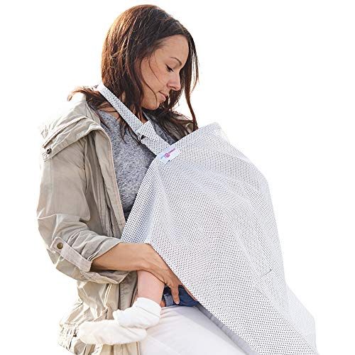 Pañuelo Lactancia Materna - Manta Lactancia Cubierta de Lactancia – Cobre Delantal Superior Estilo Deshuesado – Lunares con bolsa de Almacenamiento