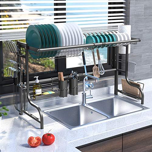Plasaig - Estante para platos de cocina, escurridores de platos para encimera de cocina, estante de almacenamiento de suministros de cocina, organizador de mostrador, acero inoxidable.