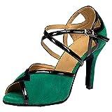 Zapatos de baile suave para mujer Salsa Latina Tango Salón Peep Toe Zapatos de baile Talón personalizado Cha-cha Correa corporal Pratice, Green, 35.5 EU