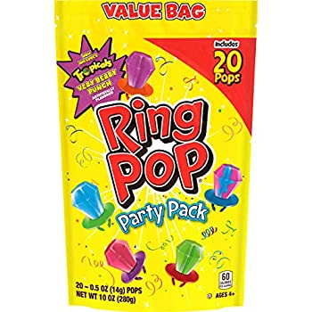 Ring Pop Individually Wrapped Bulk Variety Party Lollipop Suckers with Assorted Flavors Fun Candy for Birthdays & Celebrations Original Mixed Fruit 20 Count