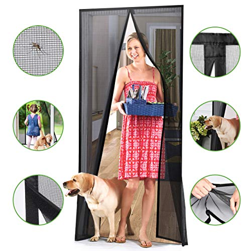 Homitt [Upgraded Version] Magnetic Screen Door with Durable Fiberglass Mesh Curtain and Full Frame...