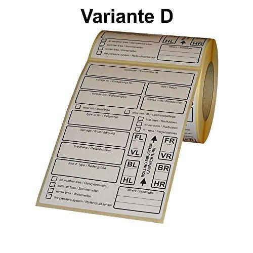 tire labels / Reifenetiketten für Einlagerung auf Rolle - EXTRA STARK haftend - 100 x 150 mm - 200 Stück - Variante D