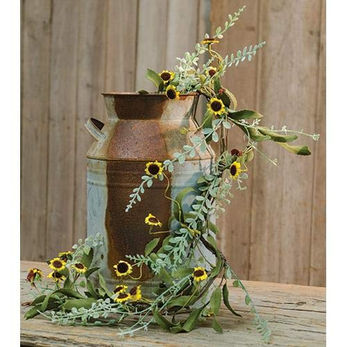 MIABE Floral Supplies for New Primitive Yellow Sunflower Daisy Garland Swag Vine French Country 4 Foot for Home Decor, Holiday Decor