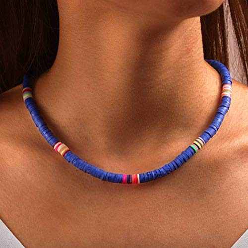 Brinote Lightweight Surfer Choker Necklaces Boho Soft Clay Necklace Handmade Jewelry for Women and Girls (Blue)
