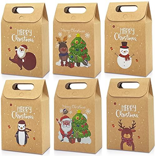 Aviski,30 Sacchetti Regalo di Natale Kraft, Caramelle di Natale, Biscotti per Feste, scatole di...