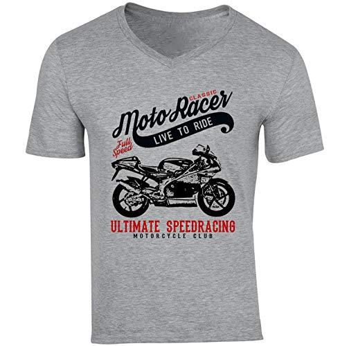 Teesandengines Aprilia rs 125 Classic Moto Racer Ultimate Speed Racing di Cotone da Uomo Grigio Tshirt Size Medium