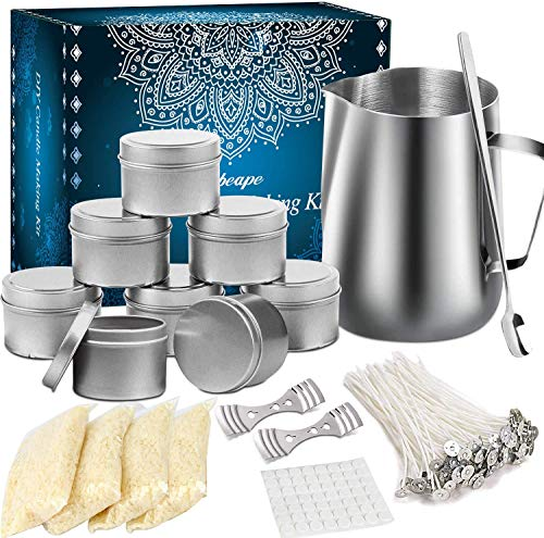 Howemon DIY Candle Making Kit Supplies, Arts & Craft Tools Including Pouring Pot, 100 Cotton Wicks, Candle Wicks Holder, Beeswax, Spoon & Candles tins