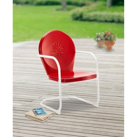 Mainstays Retro C-Spring Metal Chair, Red C-Spring Motion For Extra Comfort