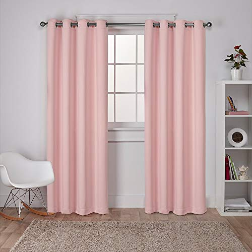 Exclusive Home Curtains EH7981-09 2-84G Sateen Twill Woven Blackout Grommet Top Curtain Panel Pair, 52x84, Blush, 2 Piece