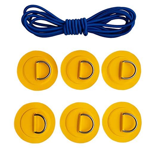 6er Set Anti-Rutsch Selbstklebend Pads Patch mit D-Ring Befestigung und Elastischer Schnur für Kajak Kanu Boot Stand Up Paddleboard - Gelb