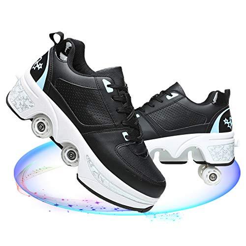Fbestxie Patines De Ruedas De Cuatro Ruedas Zapatos De Deformación Recreación Al Aire Libre Retráctil para Niños/Hombres Mujeres/Niñas Patines De Doble Propósito,Black Blue,39