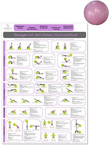 beneyu ® Pilates Poster für Pilates Ball & Gymnastikball groß in Deutsch, DIN A2 (60x42cm) Klimaneutrale Produktion - (auf A4 gefalzt) (gefalten, DIN A2) gefalten DIN A2