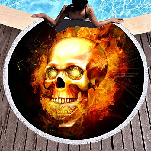 BCDJYFL 3D Toalla De Playa Calavera De Llamas Manta De Picnic Portátil Ligera Resistente Picnic Y para Actividades Al Aire Libre De Viaje Camping.-Diámetro: 150Cm