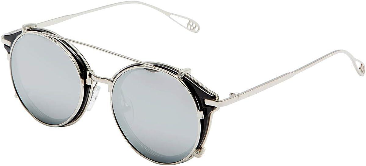 Dollger Double Lens Clip On Sunglasses Non-flip Lens Round Steampunk Style Glasses for Men Women