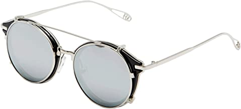 Dollger Clip On Sunglasses Steampunk Style and Round Mirrored Lens