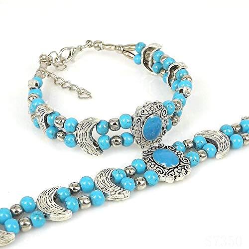 FASHLOVE 2pcs Retro Miao Pearl Bracelet in Silver Colour, Costume Jewellery Bracelet, Suitable for Sending Friends, Parents, Classmates, Honey, Lake Blue