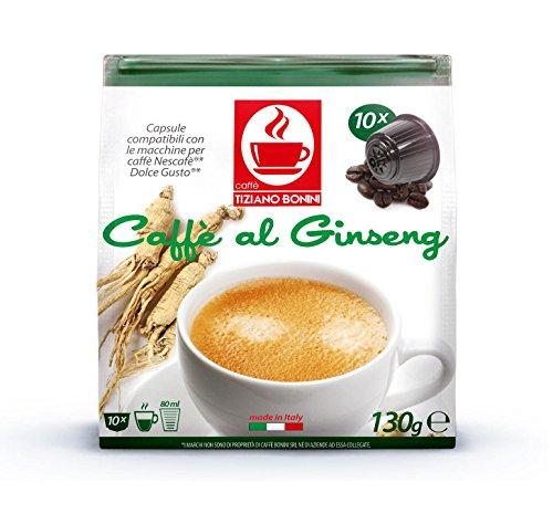 Ginseng Flavored Kaffee - 10 Stück Kompatible Kaffeekapseln von Caffè Bonini Italien. Kompatibel für alle Dolce Gusto®* Maschinen u.a. Grundpreis pro 100g: 3,75€