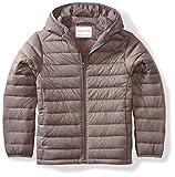 Amazon Essentials Kids Boys Light-Weight Water-Resistant Packable Hooded Puffer Jackets Coats, Grey, Medium