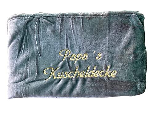 Kuscheldecke XXL - 180 x 220 cm - Persönlich anpassbar Bestickt mit Namen & Text - Hochwertige Decke - Tagesdecke - Farbe Silber - Stickfarbe wählbar
