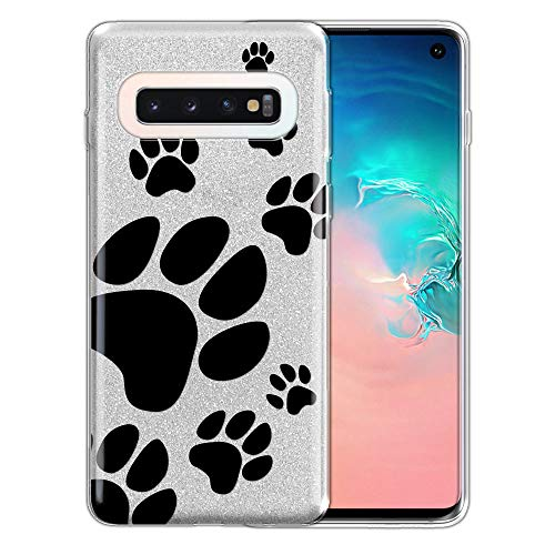 FINCIBO Case Compatible with Samsung Galaxy S10 6.1 inch, Shiny Sparkling Silver Bling Glitter TPU Protector Cover Case for Galaxy S10 (NOT FIT S10 Plus) - Dog Paw Prints