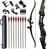 JINGYUN 52' Bow and Arrow for Adults,Hunting Archery Bow,Takedown Recurve Bow and Arrow 30-50 lbs, Bow Set for Beginner and Professional Hunting Shooting Outdoor Shooting Training (Black, 40lb)