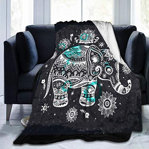 Flannel Blanket SVintage Indian Lotus Ethnic Elephant Lightweight Cozy Bed Blanket Soft Throw Blanket fits Couch Sofa Suitable for All Season for Kids Women Men 60x80 inches