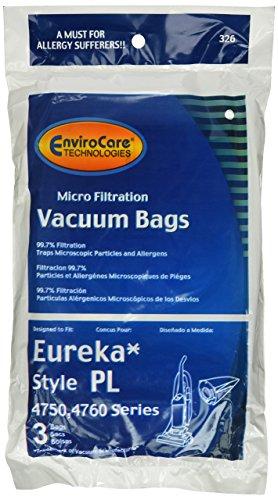 12 Eureka Electrolux Style PL Upright Vacuum Bags, Bagged Uprights, Maxima Vacuum Cleaners, 62389, 62389A, EU-62389, 62389-6, 62480, 62389-g3, 4750, 4750A, 4760, 4760AZ,