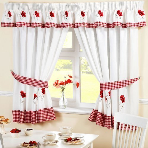 Papavero gingham cucina ricamato tende tende rosso bianco W66 x L48 Inc Tie backs by PCJ SUPPLIES