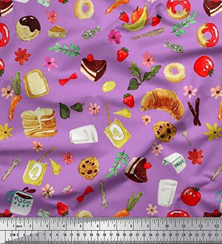 Soimoi Lila Moos Georgette Stoff Obst, Brot und Krapfen Lebensmittel Stoff drucken 1 Meter 42 Zoll breit