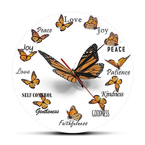 gongyu Wanduhr für Wohnzimmer Frucht des Geistes Christian Flying Butterfly Runde Uhr Monarchfalter Home Decor Wanduhr Schmetterling Liebhaber Geschenk Geeignet für Shop Meeting Room