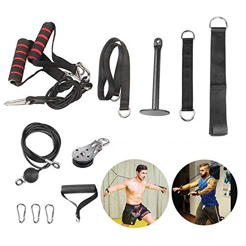 FBSPORT Seilzug Fitness, Kabelzug Fitnessgerät Trizeps Trainingsgerät für Zuhause, Arm-Krafttraining Pulley Fitness System für Home Gym Training