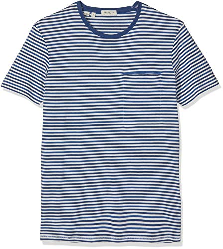 SELECTED HOMME Slhtim SS O-Neck Tee W T-Shirt, Multicolore (Navy Peony Stripes: Egret), Medium Uomo
