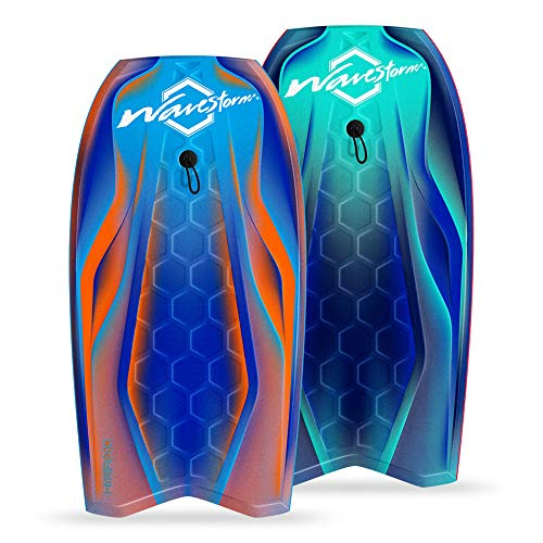 Wavestorm-42.5in Performance Foam Bodyboard with Sector Fin Channel Bottom | Bodyboard for Beginners and All Surfing Levels | Complete 2 Pack Board Set Includes Leash | Premium Construction