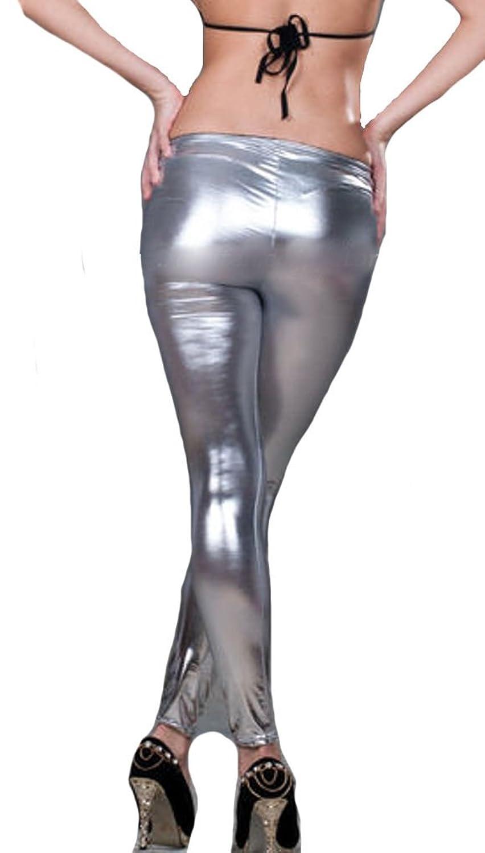 シルバー(銀) 光沢セクシーシャイニーパンツ 美脚ボンテージ