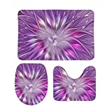 3 Piece Bathroom Rug Set Bath Mat Shower Rug, U Shaped Contour Mat, Lid Cover Non-Slip with Rubber Backing, Pink Purple Flower Passion Abstract Fractal Art Bath Room Mats 16' x 24'