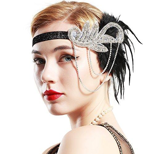 BABEYOND Bandeau Plume Année 20 Gatsby Accessoires Gatsby Flapper Bandeau Perlé 1920s Serre-tête Vintage Classique Partie à Thème Marriage Great Headband (Noir)
