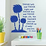 Dr. Seuss Wall Decor for Classrooms - Think Left And Think Right And Think Low and Think High - For Classroom, Playroom, Child's Bedroom, Nursery, Party Decoration - Vinyl Wall Decal
