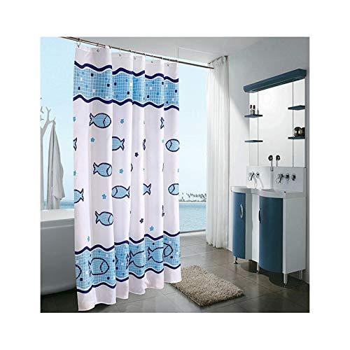 SonMo Duschvorhang Karikatur Fisch Polyester Blau Wasserdicht Anti-Schimmel Anti-Bakteriellbadezimmer Vorhang mit Duschvorhangringen Verdicken 120×200CM
