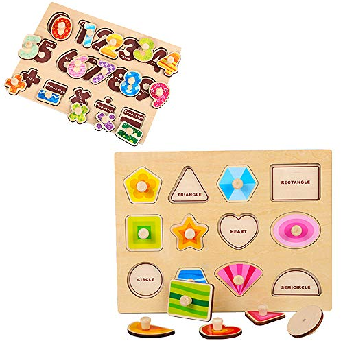 OneCreation Wooden Peg Puzzle Conseil de saisie cognitive Conseil de saisie de main (formes et nombre) 1-6 ans Puzzle Jouet