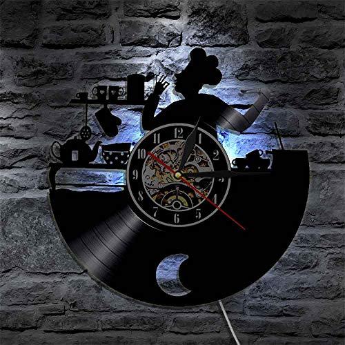 Gtllje Cocina Vintage decoración para Colgar en la Pared Regalo de inauguración de la casa para Gourmet Bon Appetit Cocina Chef Reloj de Pared Disco de Vinilo LP Reloj 12 Pulgadas