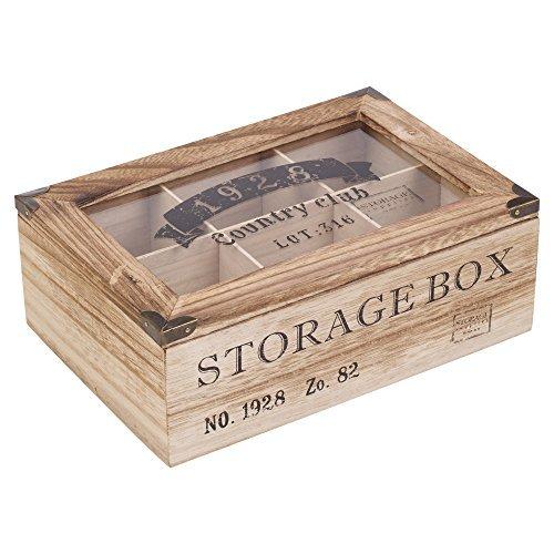 Tapa de cristal de madera caja de almacenaje de te de 6 o 9 Compartements-, 6 Compartments