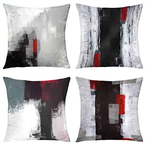 Alricc Rot und Schwarz, 4 Stück, weicher Samt, dekorativer Kissenbezug für Sofa, Schlafzimmer, Wohnzimmer (45,7 x 45,7 cm, rot und schwarz)